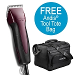 Andis Excel 5 spd+ Clipper, Burgundy w/ FREE Comb Set