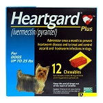 Heartgard Plus, Dogs up to 25 lbs, 12 Chewables, Rx