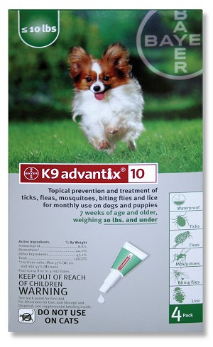 K9  Advantix 10 Small Dogs under 10 lbs, 4 Pack, Green