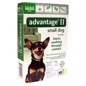 Advatage II Small Dogs 3-10 lbs, 6 Pack, Green