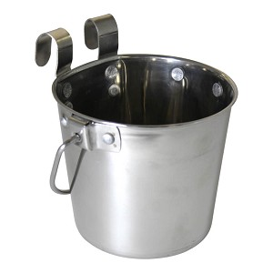 Pail Stainless Steel w/ Rivets, Flat Sided Hook-On, 1 qt