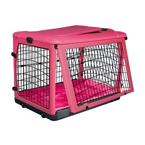 The Other Door Steel Crate with Plush Pad, Pink, 27""