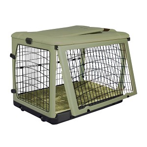 The Other Door Steel Crate with Plush Pad, Sage, 27""