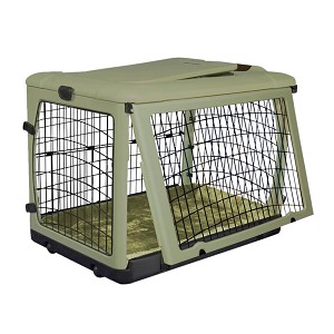 The Other Door Steel Crate with Plush Pad, Sage, 36""
