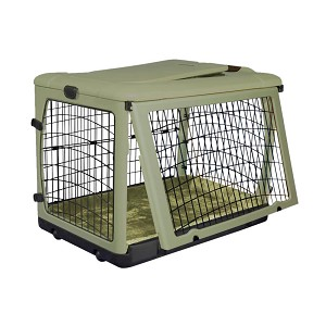 The Other Door Steel Crate with Plush Pad, Sage, 42""