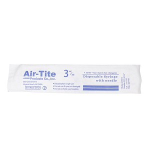 Air-Tite Syringes with Needles, 3cc LS with 22 g x 3/4""