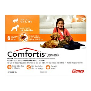 Comfortis Rx, 10.1-20 lb Dogs/6.1-12 lb Cats, Orange, 6 Count
