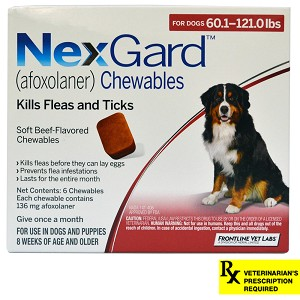 NexGard for Dogs Rx, 60.1-121 lbs, 6 month