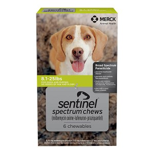 Rx Sentinel Spectrum Chews, 6 pack, Green, 8 - 25 lbs