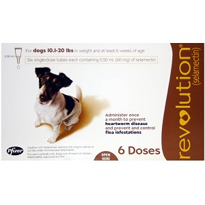 Revolution Rx for Dogs, ORM-D, 10.1-20 lbs, 6 Month (Brown)