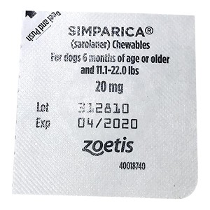 Rx Simparica, Single Chewable Tablets