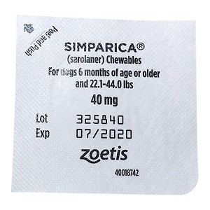 Rx Simparica 40mg for Dogs 22.1-44 lbs, 1 Chewable Tablet
