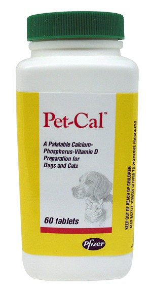 Pet Cal Supplement for Dogs and Cats, 60 Tabs