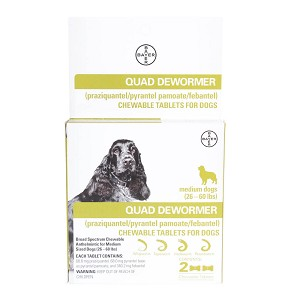 Quad Dewormer 68mg Medium 26-60 lbs  Dog 2ct