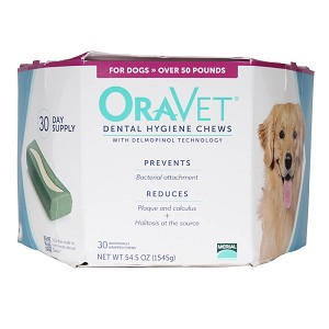 ORAVET Dental Hygiene Chews for Dogs Over 50 lbs, 30 ct