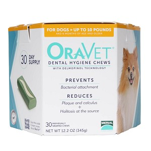 ORAVET Dental Hygiene Chews for Dogs up to 10 lbs, 30 Ct