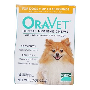ORAVET Dental Hygiene Chews for Dogs up to 10 lbs, 14 Ct