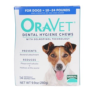 ORAVET Dental Chews for dogs 10-24 lbs, 14 ct