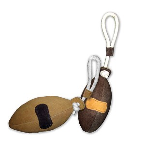 Natural Water Buffalo Suede Football Toy, Brown