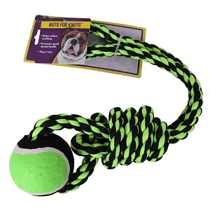 "Nuts for Knots Rope Tug with  Tennis Ball, 20"" Assorted"