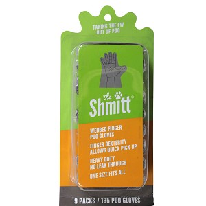 Shmitt 9 Pack Refills Poo Gloves w/ Webbed Fingers, OSFA, 135 Gloves