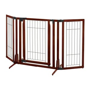 Premium Plus Freestanding Gate, Cherry Brown