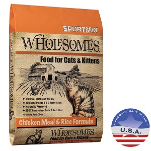 SPORTMiX Wholesomes Chicken Meal & Rice Formula for Cats, 15 lbs