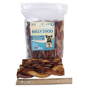"Braided Bully Sticks for Dogs, 6-7"" Premium All Natural Pizzle Chews, 12 pk"