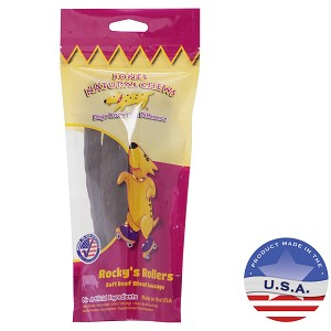 Jone Natural Chews Rocky's Rollers Soft Beef Blend Sausage for Dogs, 3.6 oz