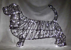 "Wire Art, Basset Hound 21"" - Lighted Frame"