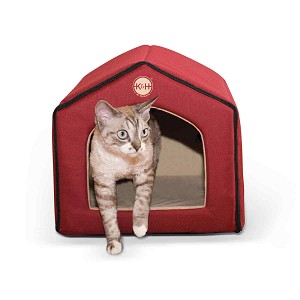 "K&H Pet Products Unheated Indoor Pet House Red / Tan 16"" x 15"" x 14"""