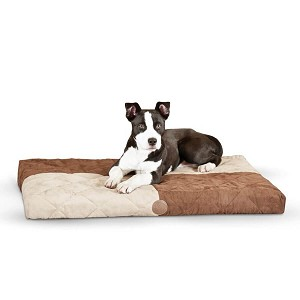 "K&H Pet Products Quilted Memory Dream Pad 1"" Medium Chocolate / Tan 27"" x 37"" x 1"""