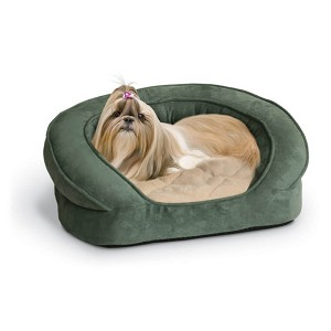 "K&H Pet Products Deluxe Ortho Bolster Sleeper Pet Bed Medium Green 30"" x 25"" x 9"""