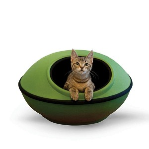 "K&H Pet Products Mod Dream Pods Cat Bed Green / Black 22"" x 22"" x 11.5"